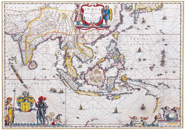Blaeu, Willem: Map of South East Asia. Antique/Vintage 17th Century Map. Fine Art Print/Poster. Sizes: A4/A3/A2/A1 (003873)